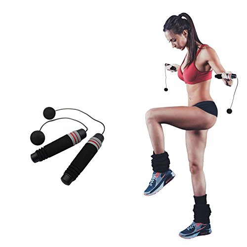 Ueasy Weighted Ropeless Jump Rope Length Adjustable Skipping Rope Tangle Free No Fray No Hurt No Tripping for You and Your Children (Cordless Jump Rope)