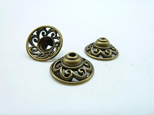 50pcs 6x14mm Antique Bronze Lovely Bead Caps C4097 - Cap Only Antique