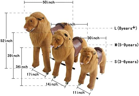 Mechanical Ride on Lion Simulated Horse Riding on toy ride-on Ponyサイクルwithoutバッテリーまたは電源:より快適Riding with Gallopモーションキッズ5–12歳