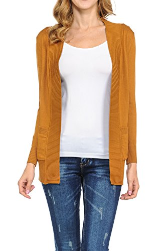 KB Apparel Women's Classic Casual Solid Open Front Sweater Knit Cardigan Dusty Mustard Small ()
