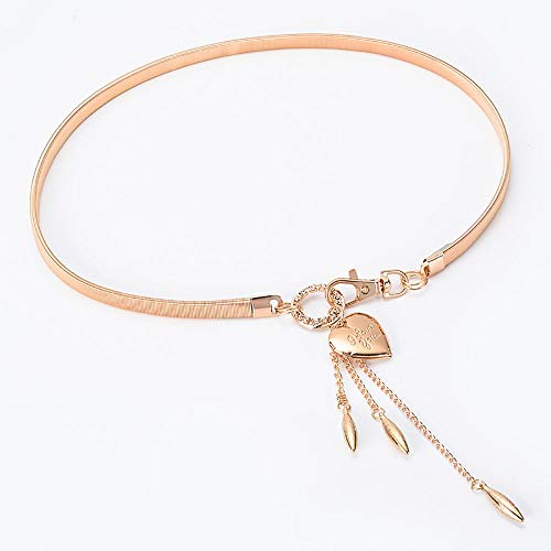 Liuxina Ladies Belt Womens Waistband Clothing Accessories Waist Chain Metal Gold Silver Chain Sweater Dress Belt (Color : Gold, Size : S) ()