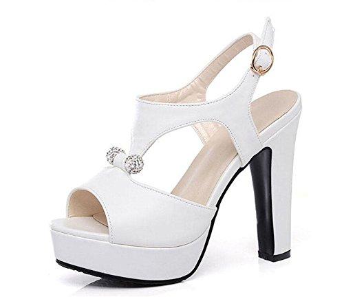 White Ankle Hollow High Toe Shoes Ladies Heel Large Peep Waterproof Strap Sandals Size Platform Pump Roman Women pxaWfF