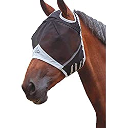 Shires Fine Mesh Horse Equine Fly Mask with Ear Holes 60% UV Protection (Extra Full, Black)