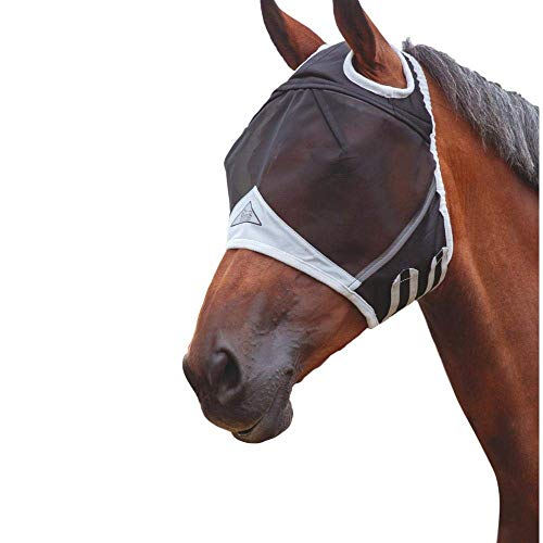 Equine Fly Masks - Shires Fine Mesh Horse Equine Fly Mask with Ear Holes 60% UV Protection (Full, Black)