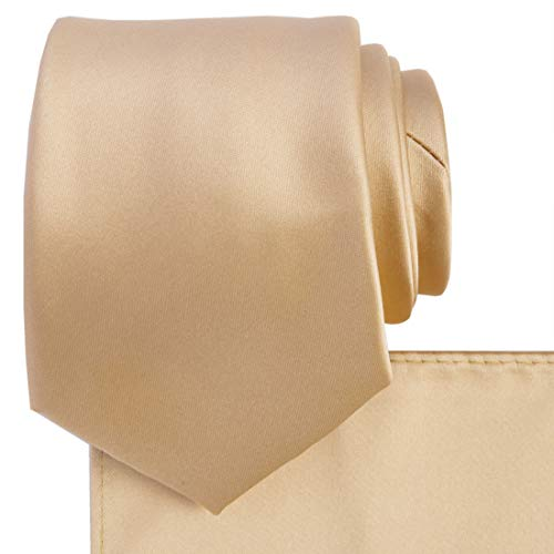 KissTies Necktie Set Gold Champagne Solid Satin Tie + Pocket Square + Gift - Necktie Color Gold