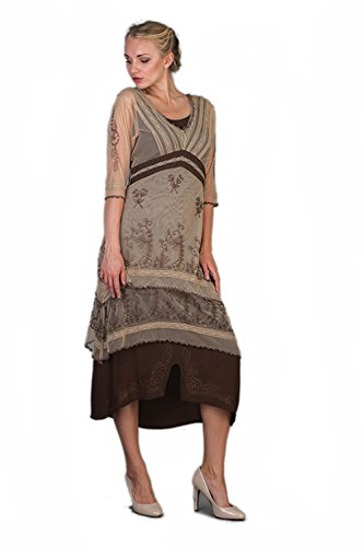 Nataya 5901 Women's Titanic Vintage Style Dress in Milk Coffee (X-Large) by Nataya