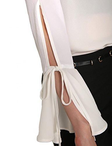 Ma Coquette - Camiseta - Noche - cuello en V - Manga Larga - para mujer blanco