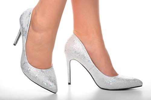 Blanco Brillantes Piel de Serpiente Zapatos Puntiagudo Metalico Detalle Talones de Novia