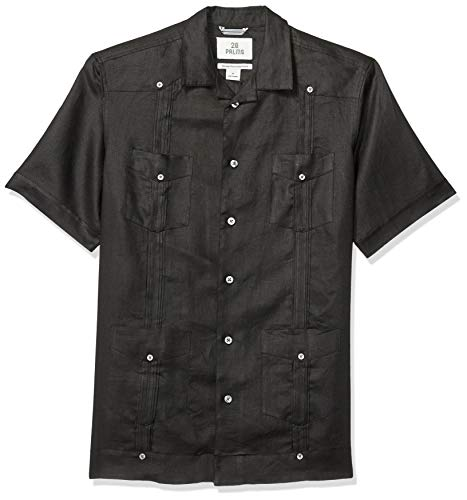 28 Palms Men's Relaxed-Fit Short-Sleeve 100% Linen 4-Pocket Pleated Guayabera Shirt, Black, ()