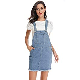 Women's Classic Adjustable Strap Distressed Denim Overall Dress with Pocket