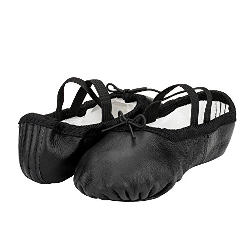 Woman's Classic Yoga Leather Ballet Dancing Shoes,Black,7 M US by MSMAX (Image #4)