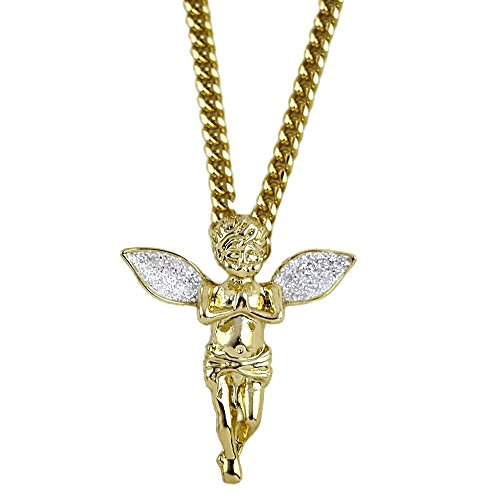 Gold Plated Cherub (Angel Cherub Praying Micro Pendant Stardust Wings 14K Gold Plated 30 Inch Long Cuban Hip Hop Chain)