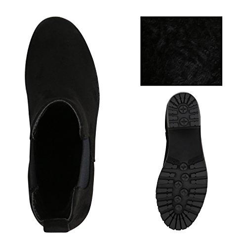 Stiefelparadies Damen Klassische Stiefeletten mit Blockabsatz Gefüttert Flandell Schwarz Arriate