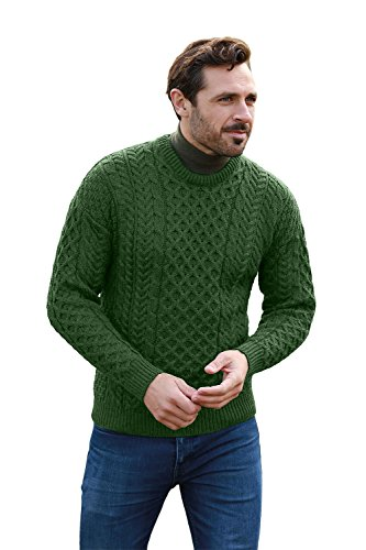 Men's Irish Traditional Aran Wool Pullover Sweater (Medium, Connemara Green) ()