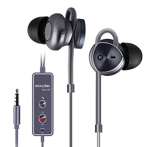 Mixcder ANC G5, Active Noise Cancelling-Kopfhörer, In-Ear Headset mit integriertem Mikrofon, Akku für Aktiv Geräuschunterdrückung, bis zu 8 Stunden Betriebszeit, ergonomisches Design, einstellbare Ohrbügel, 3,5mm Klinkenanschluss, geeignet für z.b. iPhone, Samsung Galaxy, Huawei, HTC, Nokia, Nexus und mehr