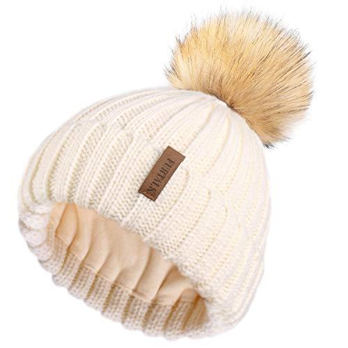 FURTALK Womens Knitted Winter Pom Beanie Hat Faux Fur Pom Pom Bobble Hat Beanie for Girls,One Size Beige