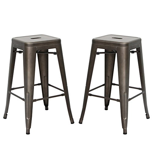 Stackable Indoor and Outdoor Metal Chair Dining Barstool, Set of 2,Iron Grey