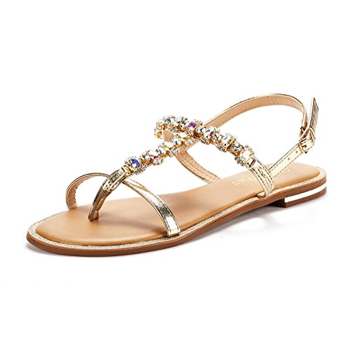 03940026cc183b DREAM PAIRS Women s Fantasia 5 Gold Fashion Rhinestones Design Sling Back Flat  Sandals Size 11 ...
