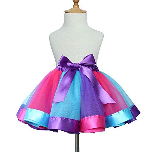 TRADERPLUS Baby Girls Colorful Layered Dance Outdoor Rainbow Tutu Skirt (Medium 4-6 years, -