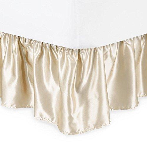 - Vitansha B'D Collection Silky Shiny Bedding Mattress Bed Dressing DUST Ruffle Satin Bed Skirt 15