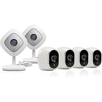 Arlo by NETGEAR Security Camera Kit – 4 Wire-Free Indoor/Outdoor HD Cameras & 2 Arlo Q 1080p HD Indoor Cameras | Night Vision (VMK3500)