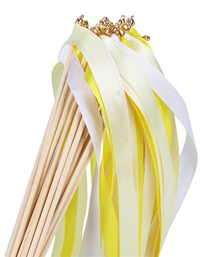 30pcs Ribbon Wands Party Streamers for Wedding Party Activities (Yellow) ()