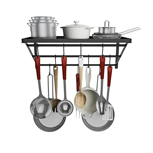 Kitchen Wall Pot Rack with Hooks Wall Mounted Pot and Pan Hanging Racks Shelf Organizer for Kitchen, Pans, Books, Bathroom (Black-2) by evokem