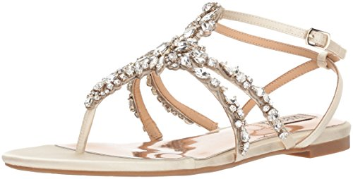 Badgley Mischka Women's Hampden Flat Sandal, Ivory, 9.5 M US by Badgley Mischka