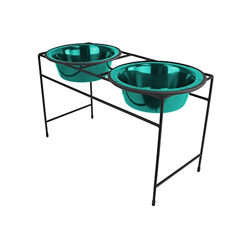 Platinum Pets Double Diner Feeder with Stainless Steel Dog Bowls, 3.5 cup/28 oz, Caribbean Teal