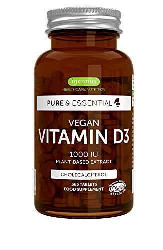 Pure & Essential Vegan Vitamine D3 1000 ui Cholécalciférol, 100% végétale, 365 petits comprimés