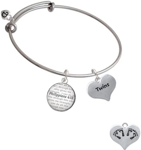 Twins Heart with Two Pair of Baby Feet Bible Verse Philippians 4:13 Glass Dome Bangle Bracelet