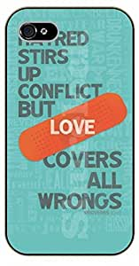 iPhone 5 / 5s Bible Verse - Hatred stirs up conflict but love covers all wrongs. Proverbs 10:12 - black plastic case / Verses, Inspirational and Motivational