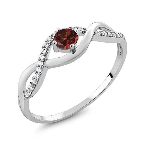 Garnet Vintage Bands - 0.68 Ct Round Red Garnet 925 Sterling Silver Infinity Ring