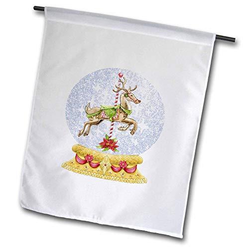 3dRose Lens Art by Florene - Retro - Image of Carousel Reindeer in Snow Globe Vintage Style - 12 x 18 inch Garden Flag (fl_302991_1) (Carousel Retro)