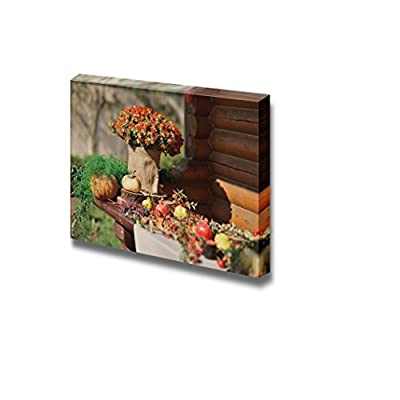 Canvas Prints Wall Art - On a Wooden Table Leaves, Lemon, Pumpkin and a Large Decorative Vase with a Bouquet of Chrysanthemums - 24