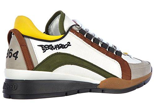 Dsquared2 chaussures baskets sneakers homme en Nylon tissu tecnico blanc