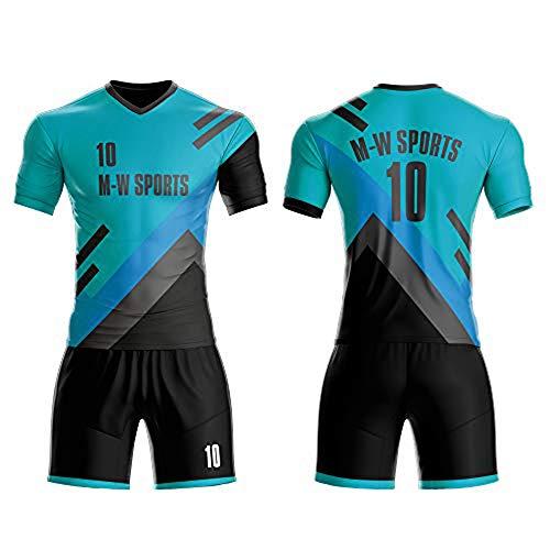 Custom Jersey Full Sublimated Club Uniform Set Make Your Team Training Jerseys (Green, L)
