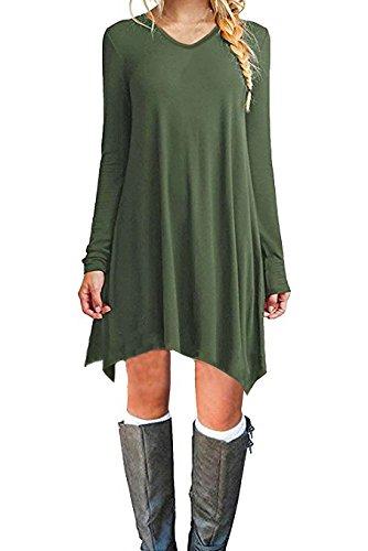Zaitun Womens V Neck Long Sleeves Casual Tshirt Dress