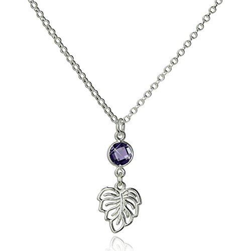 Women's Delightful 925 Sterling Silver Ornate Leaf Pendant Necklace with Purple Cz, 18