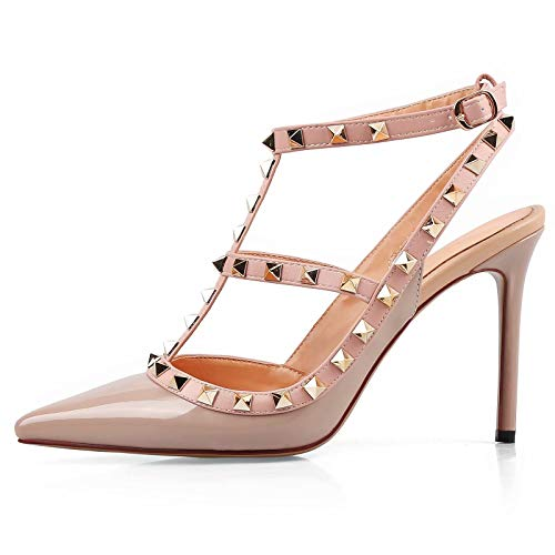 (CAITLIN-PAN Women High Heels Studded Pointed Toe Strappy Slingback Leather Pumps Stilettos Heeled Sandals Nude Pink Size 7.5US 38CN)