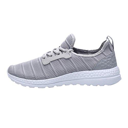 Huichang Scarpe Rotonda Traspirante Summer Mesh Travel Punta Sneakers Lace Casual Grigio up Shoes Unisex xfR7vqwx