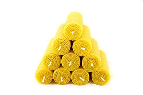 10 Naturra 100% Bienenwachs Kerzen handgerollt Wabenmuster