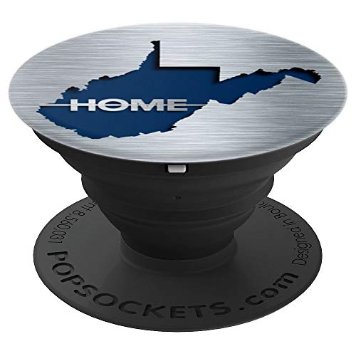 - West Virginia State Map, Home, Brushed Metal Look, Cutout - PopSockets Grip and Stand for Phones and Tablets