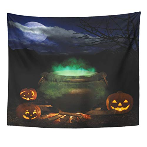Emvency Wall Tapestry Witch Halloween Night with Bubbling Iron Cauldron Orange Pumpkin Jack O Lanterns and Full Moon Brew Treat Trick Pot Fire Decor Wall Hanging Picnic Bedsheet Blanket 60x50 Inches