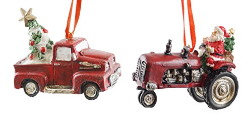 Country Christmas Tractor & Truck Hanging Christmas Ornament Set of 2 by Creative Co-op
