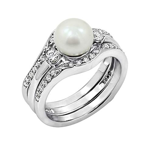 (J'ADMIRE 1 Carat Swarovski Zirconia Freshwater Cultured Pearl Ring Set with Guard Ring Size 6, Platinum Plated Sterling)