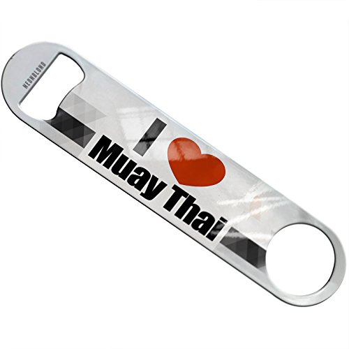 NEONBLOND I Love Muay Thai Flat Beer Bottle Opener Heavy Duty Bartender by NEONBLOND