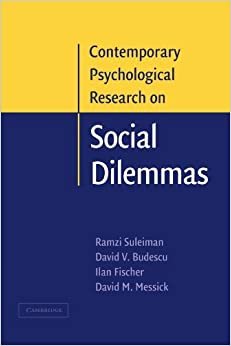 Book Contemporary Psychological Research on Social Dilemmas by Ramzi Suleiman (2011-07-21)