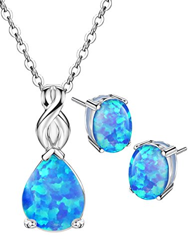Blue Opal Jewelry Set Sterling Silver Pendant Necklace Stud Earrings October Birthstone Gemstone Fine Jewelry for Women