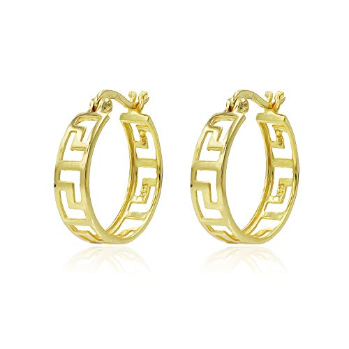 Yellow Gold Flashed Sterling Silver Filigree Greek Wall Cut Out Hoop Earrings Medium Size 5mmx20mm For Women